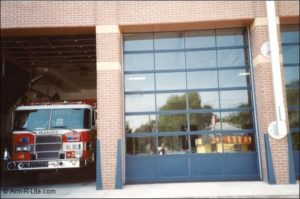 Narrow Sightline Fire Station Garage Door